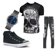 """Man fashion"" by amela-367 ❤ liked on Polyvore featuring Converse, Philipp Plein, Emporio Armani, men's fashion and menswear"