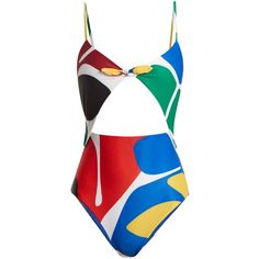 Mara Hoffman Kia cut-out swimsuit ($350) ❤ liked on Polyvore featuring swimwear, one-piece swimsuits, green multi, mara hoffman bathing suits, swimsuit swimwear, cut-out one piece swimsuits, high waisted bathing suits and cut out one piece swimsuit