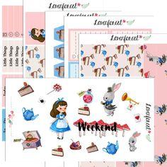 Alice in Wonderland stickers of the planner, Erin Condren planner kit sticker, decal kit happy planner