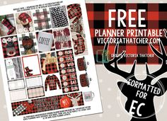 Free Printable Buffalo Check Planner Stickers from Victoria Thatcher