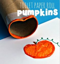 Fall pumpkin stamp - toilet paper roll craft for kids // Őszi tökös nyomda gyerekeknek wc papír gurigából // Mindy - craft tutorial collection //