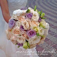 rosas lila, rosas beige, eustomas