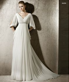 Vintage Half Sleeves Chiffon White Empire #Wedding Dress