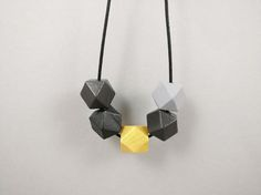 Geometric Necklace  Dark Grey Gold and Light by kodesaccessories