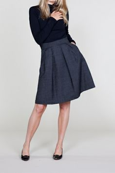 Vintage inspired A-line skirt made from tiny dot tweed patterned wool?Yes please. From EmersonMade..