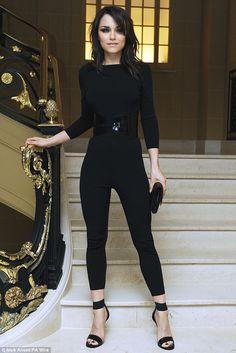 Samantha Barks accentuates slimline frame in skintight black catsuit at Vogue dinner | Mail Online