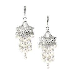 Vintage Look Pearl Pearl Chandelier Wedding Earrings - Affordable Elegance Bridal