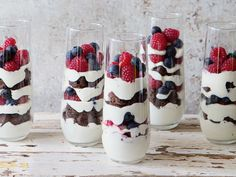 These parfaits reach the next level by including that all-american favorite: the brownie. Get the recipe: Red, White, and Blue Brownie Parfait   - Delish.com