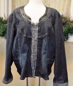 Venezia Embellished Ruffled Fitted Distressed Dark Wash Denim Jacket 18/20 Plus #VeneziaLaneBryant #FittedDenimBlazer