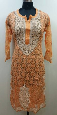 Lucknow Chikan Exclusif Sarabsons Shop No 101, Naveen Market, Kanpur. Lucknowi Chikankari Hand Embroidered Kurti Orange Faux Georgette Rs. 3,395.00 only. Free Shipping. COD. Order on Call / Whatsapp +91-9918602101 or click to Buy Online