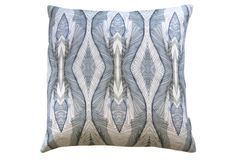 Eskayel Ula cerulean pillow printed on 100% natural linen. www.providehome.com