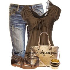 A fashion look from April 2014 featuring flutter-sleeve top, bronze shoes and zipper purse. Browse and shop related looks. Pretty Outfits, Beautiful Outfits, Cute Outfits, Casual Outfits, Fashion Outfits, Womens Fashion, Fashion Trends, Spring Summer Fashion, Spring Outfits