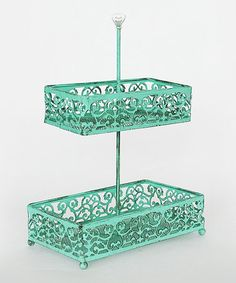Love this Aqua Two-Tier Wire Tray on #zulily! #zulilyfinds