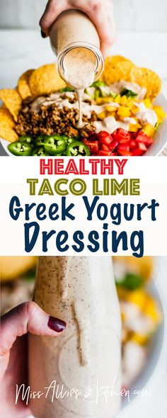 Healthy Taco Lime Greek Yogurt Dressing - the easiest DIY dressing you'll make using healthy greek yogurt and southwest spices. It makes any salad great and is preservative free! food easy Healthy Taco Lime Greek Yogurt Dressing - Miss Allie's Kitchen Salad Recipes Healthy Lunch, Healthy Tacos, Chicken Salad Recipes, Easy Salads, Easy Healthy Recipes, Greek Yogurt Dressing, Greek Yogurt Sauce, Greek Yogurt Recipes, Greek Yoghurt