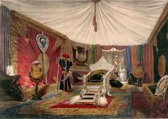 Interior of luxurious Indian tent
