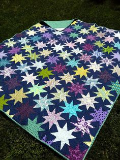 another great Sparkle Punch (tut by Oh, Fransson!) This beauty by lucky_charm. Star Quilt Patterns, Star Quilts, Scrappy Quilts, Quilt Blocks, Star Blocks, Colorful Quilts, Blue Quilts, Quilting Projects, Quilting Designs