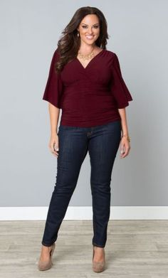 Plus Size Keira Kimono Sleeve Top Merlot at www.curvaliciousclothes.com Opt for a luxe top that just begs for attention