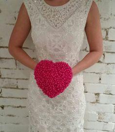Hot Pink Beaded Heart Bouquet