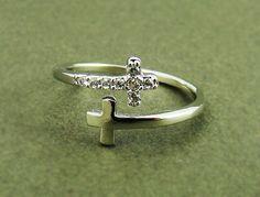 Women's Teen's Sideways Double Cross Ring with Crystal