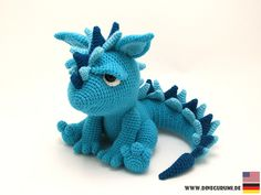 Häkelanleitung für den süßen Drachen Spikey, Amigurumi häkeln / crocheting pattern for dinosaur Spikey made by Dinegurumi via DaWanda.com