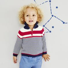 The White Company US. Stripe Half Zip Sweater | Ideal for any little sea-faring sailor, we've designed this pure-cotton jumper with all-over nautical stripe. Accented with a handy zip to the neck for ease when taking on and off, the cotton composition will help to regulate baby's temperature. We love the contrasting banding and colours of red, white and blue. Pinning from the UK? -> http://www.thewhitecompany.com/the-little-white-company/baby/baby-boys/stripe-half-zip-jumper--multi/