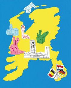 Map, Illustration by Jeroen de Leijer for Univers Magazine.