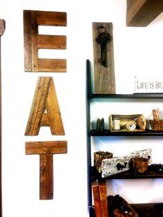 Reclaimed Barnwood EAT Letters