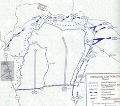 February 22 - May 14, 1967     Operation JUNCTION CITY, the largest US operation of the war, is launched. Four US divisions, as well as additional brigades, are involved in a massive search and destroy mission along the Cambodian Border. American troops over-run much of the area before encountering signinficant resistance.  There are three major battles, each intiated by the Viet Cong: the first, at Ap Bau Bang; the second, at Fire Support Base Gold and the third at Ap Gu. In each batt