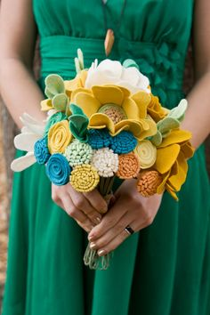 Custom Wildflower Felt Wedding Bouquet  Bridal  by munclefredart