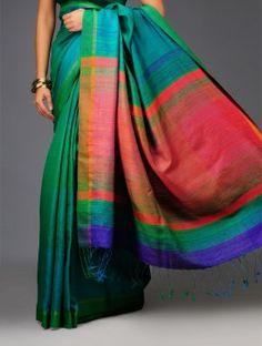 Green-Orange Pashmina Handwoven Cotton-Silk Saree