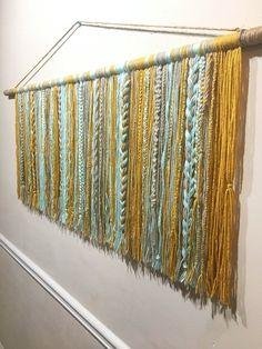 Braided Yarn Wall Hanging - Large Teal, Mustard Yellow and Beige Yarn Tapestry Yarn Wall Art, Metal Tree Wall Art, Diy Wall Art, Wall Decor, Room Decor, Macrame Wall Hanging Diy, Hanging Wall Art, Tapestry Wall Hanging, Wall Hangings