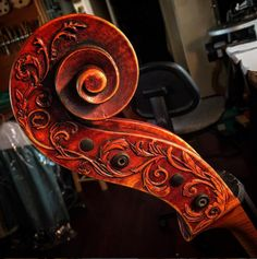 The scroll of a 2005 Eric Benning-crafted cello belonging to cellist Armen…