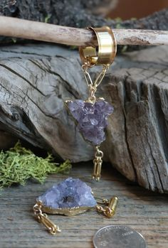 Amethyst Electroformed 14kt Gold Gauged Earrings   Magnetic Clasp Gauges   One of a Kind
