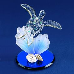 Glass Baron Blue Coral Sea Turtle Figurine