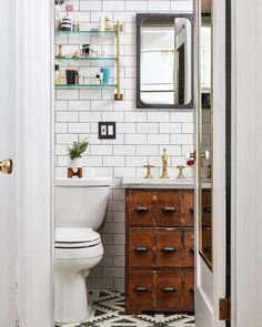Here's How a Fashion Editor Gave Her Generic Brooklyn Apartment an Upgrade - Bathroom Decor Ideas Wooden Bathroom, Boho Bathroom, Bathroom Ideas, Bathroom Inspiration, Bathroom Inspo, Bathroom Shelves, Bathroom Vanities, Washroom, Bathroom Designs