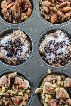 Great way to make oatmeal ahead of time: freeze portions in a muffin tin. Sweeten with banana, customize toppings. Reheat 2-3 muffin-size portions for a healthy, filling, delicious breakfast.