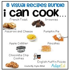 SAVE 25% by BUYING THIS BUNDLE!!!!Cooking Visual Recipe for Special Education Students. Single step images, and symbol supported text provides your students with the visual supports they need to cook independently!   Keywords:  Special Education, Cooking, Independent Living Skills, Functional Independence, Transition, Daily Living Skills, Visual Supports, Recipe, Writing, Step by Step, Simple, Dessert,  Savory, Food, Vocational SkillsStep by step visuals with simple sentence supports…