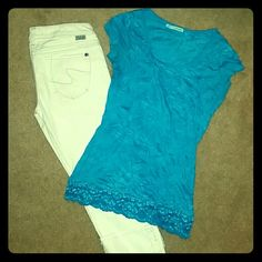 """Torquiose crinkle top This shirt is perfect for the """"dressy casual"""" look, looks great paired with white, khaki, or dress bottoms. This listing is only for the top, bundle and save on the white Capri also shown or other tops in my closet!! Maurices Tops"""