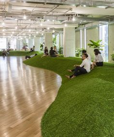 park-like green office simulates recreational ground to promote productivity