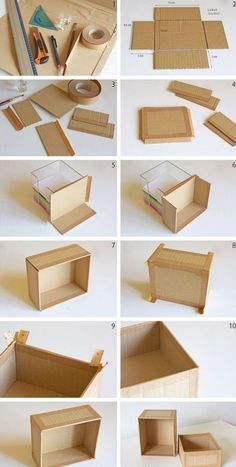 Karton-Recycling: Schachtel selber machen Instead of throwing cardboard packaging away, you can alsoCaja de cartón How to make your own cardboard box, www.You can use this box to cover with fabric for pretty organization and storage. How to make your own Cardboard Recycling, Cardboard Storage, Cardboard Crafts, Craft Storage, Cardboard Organizer, Diy Storage Boxes, Cardboard Box Storage, Diy Cardboard Furniture, Recycling Storage
