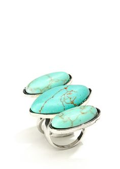 Turqoise tripple oval stone ring