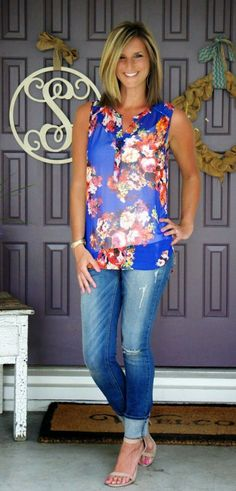 style for over 35 ~ Daniel Rainn Floral Print Shirt paired with rolled distressed jeans