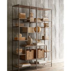 Dillenger Etagere ($999) ❤ liked on Polyvore featuring home, furniture, storage & shelves, bookcases, light brown, shelf furniture, shelves bookcases, shelving furniture, book shelves y shelf bookcase