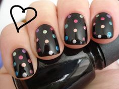Black with colorful dots.