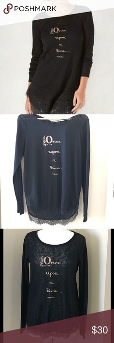 """Lauren Conrad Snow White Shirttail Lace Trim Tunic NWT, oversized black Tunic with Black Lace trim and gold sparkly lettering """"Once upon a time..."""" written on the front. Lightweight, semi-shear, keyhole design at back neck with pretty ribbon tie. 77% polyester, 23% rayon. This top is a part of LC's Disney's collection. LC Lauren Conrad Tops Tunics"""