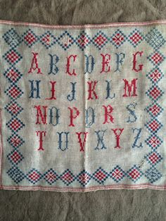 """The Warp and the Weft from frenchgeneral.blogspot.com This sampler is missing the """"W"""", thus showing it's age."""