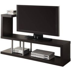 This Modern Entertainment Center TV Stand In Cappuccino Finish Is An Open  Shelf With An Unusual And Innovative Design That Immediately Catches The  Eye.