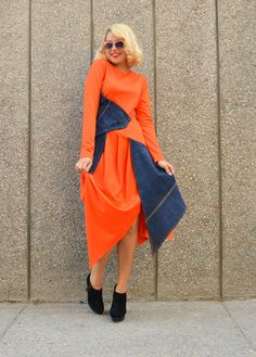 Orange Jersey Dress with Denim Insets / Denim Dress / by Teyxo