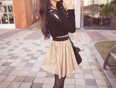 teen fashion for fall, cute skirt and top