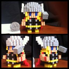 Marvel Thor perler beads by voxelperlers Perler Bead Templates, Pearler Bead Patterns, Diy Perler Beads, Perler Bead Art, Perler Patterns, Hamma Beads 3d, Pearler Beads, Fuse Beads, Thor